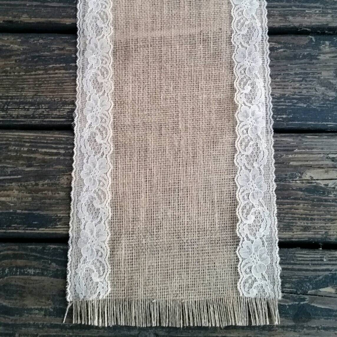 Table Runner 10 Inch Wide By 72 Inch Long Lace And Burlap