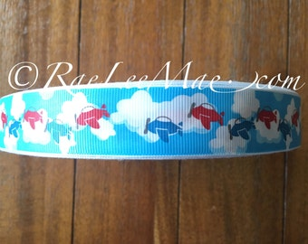 "Airplane ribbon 1"" 25mm/Red and Blue Airplane ribbon/plane in clouds hair bow ribbon/jet ribbon/clouds ribbon/airplane baby shower decor"