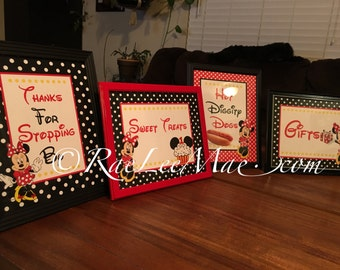 8x10 Framed Minnie Mouse Inspired Sign/Thanks for Stopping By/Hot Diggity Dogs/Minnies Boutique/Gift Table Framed Picture/candy bar sign