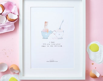 Personalised anniversary eggs A4 Art print