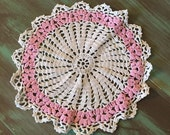 Crocheted Doily / Vintage Cotton Round Off White & Pink Doily for Holidays, Table Setting, Display, Gift Giving