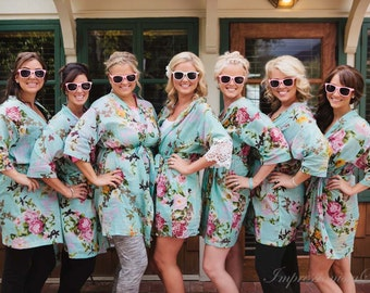 Set of 6 Turquoise Bridesmaids Robes Robes voile Getting ready robe Bride Kimono robes Maid of honor spa robe beach cover up