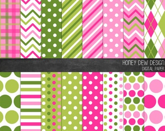 Patterned Paper - Pink and Green - Instant Download