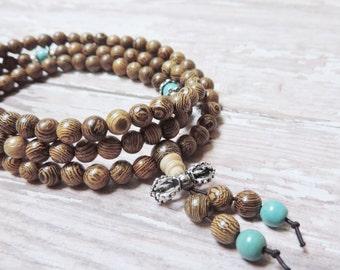 108 Prayer Beads, Olive Wood, Wrist Japa Mala, Chakra Bracelet, Healing Meditation Bracelet, Yoga Bracelet, Buddhist Bracelet