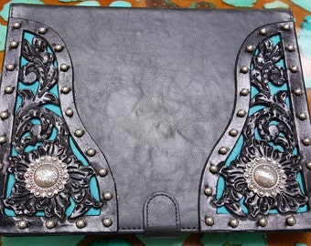 Black Leather iPad Cover with hand tooled filigreed corners and sterling plated conchos