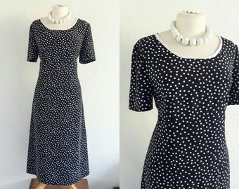 Vintage 40s Polka Dot A Line Dress - US 8 EU 40 UK 12 - Black / Navy Blue & White