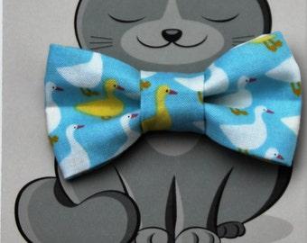 Cat Bow Tie, Dog Bowtie, Cat Costume, Pet Bowtie, Collar Accessory, Handmade in Canada, Ducks, Birds, Yellow, Blue