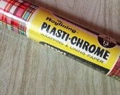 Vintage Plaid Wrapping or Shelf Lining Paper ~ Royalining Plasti-Chrome