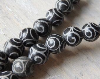 Carved new jade beads, 8mm black new jade beads with etched pattern, ethnic beads, carved beads, black new jade beads with intricate pattern