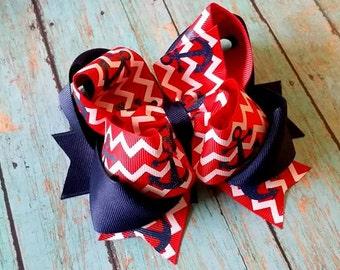 Anchor Hair Bow...Red Chevron Hair Bow...Chevron Anchor Bow..Nautical Hair Bow...Chevron Anchors..Navy and Red Hair Bow..Red and Navy Bow..