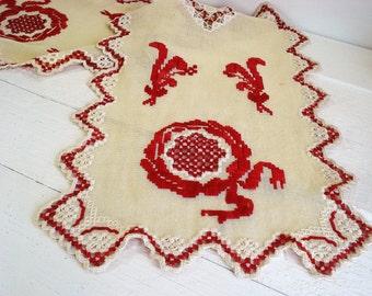 Vintage Hand Embroidered Edge Linen Table Runner