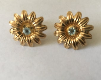 10K Art Nouveau Aquamarine Daisy Flower Earrings Pierced Threaded Post Screw Back