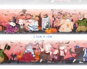 1 Roll of Limited Edition Washi Tape: Halloween Wild Cat and Mouse Party