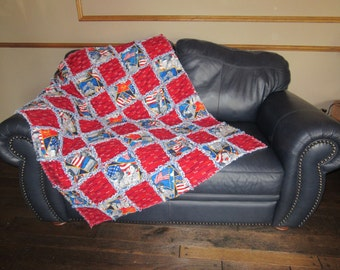 """Boy Scouts of America RAG QUILT Large 45.5"""" x 52"""" Blanket"""