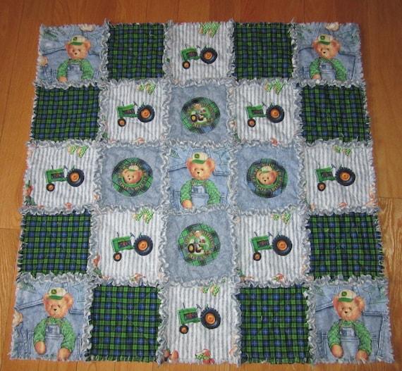 Rag Quilt Pattern Bear : JOHN DEERE Teddy Bear Fabric Rag Quilt Baby Bears Ride Tractors Too!