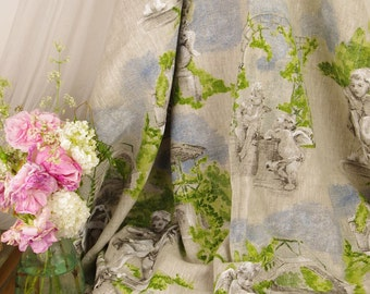 Toile de jouy linen Angel wide 150 cm sold by meter