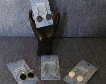 SALE ! Denim Hoop Earrings