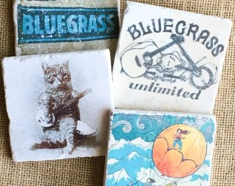 Bluegrass- Bluegrass Gift, Country, Country Gift, Country Music Gift, Coaster, Tile Coaster, Drink Coaster