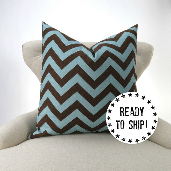 Ready Made Decorative Pillow Covers : Ready to Ship Blue Brown Zigzag Pillow Cover chevron
