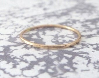 Rose Gold Ring - Skinny - Hammered - 9ct Rose Gold Band