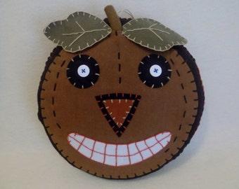 Old Fashioned Vintage Scary Handcrafted Halloween Jack-O-Lantern Felt PUMPKIN ~ Soft Sculpture Pumpkin Head ~ Handmade Halloween ~ Holidays
