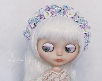 Rainy Night flower handmade headband wreath corolla for Blythe Jecci Five doll Icy Doll Basaak 10-11 inch size dolls heads