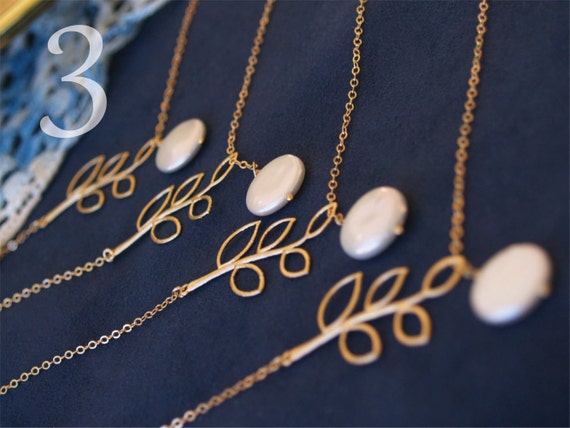 3 Bridesmaid Necklaces - Branch and Coin Pearl Lariat on 14K Gold Filled Chain - Set of 3 - Bridesmaids Sets, Bridal, Wedding Jewelry