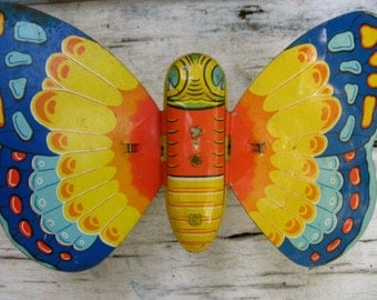 Tin Butterfly By J Chein Tin Litho Child's Toy Vintage Primary Colors Children's Room Decor Mechanical Push Toy