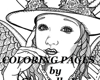 Cowgirl Angel Coloring Page Woman Face Adult Picture Zentangle