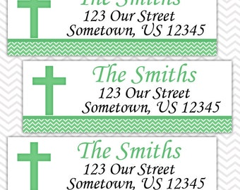 Cross Green Baptism Christening First Holy Communion  - Personalized Address labels, Stickers