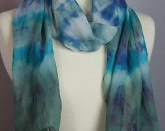 Hand Dyed OOAK Silk Chiffon Scarf in Cobalt, Aqua and Moss colors