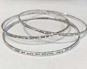 Sterling Silver Personalized Stacking  Bangle Bracelets Customized Handmade by ShesSoWitte