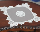 Cozymom Handmade Wedding White Ivory Lace Table Runner Tableware Fabric,Embroidery 24x24cm
