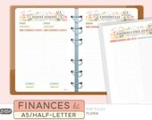 A5 FINANCES KIT - Printable Planner Inserts - Flora Theme - 12 sheets