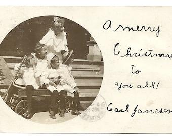 Kids & Kittens in Coaster Wagon 1906-Merry Christmas-RPPC