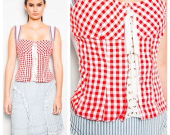 SALE was 275 now 200 sporty luxe vintage 90s D&G red gingham athletic strap boned bodice with corset lacing bustier top