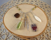 Silver Charm Necklace- Owl, Feather, Bottle- One of a Kind!