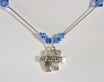 Autism Teacher Gift,Autism Awareness Necklace,Teacher Thank You Gift,Swarovski,Silver Autism Charm,Special Education Teacher Gift,Unique