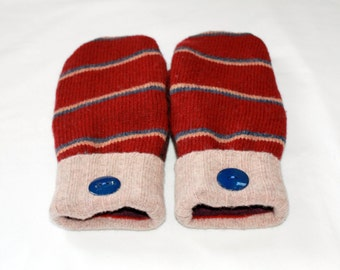 Wool Felted Mittens - Upcycled Wool Mittens  - Sweater Mittens - Cranberry  -  Womens -  Size Medium