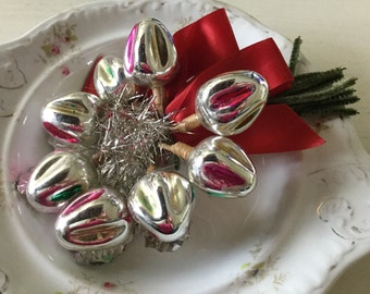 Wonderful vintage Christmas corsage with Mercury glass bulbs, tinsel and foil leaves