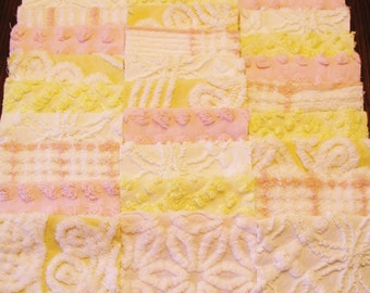 """30 Vintage Chenille Bedspread 6"""" Quilt Squares Fabric Kit Pink Yellow White"""