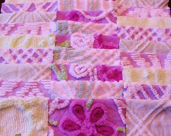 """36 Vintage Chenille Bedspread 6"""" Quilt Squares Fabric Kit Purple Green White"""