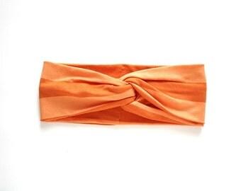 orange twist headband turban tropical hair wrap headwrap neon orange twist center headband summer colorful resort style hair accessories
