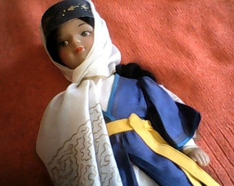 SALE Exotic Ethnic Celluloid Pretty Doll in Full CLothes Outfit Must See