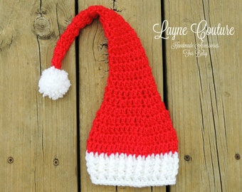 Red and White Stocking Cap / Christmas Photo Prop / Baby Santa Hat
