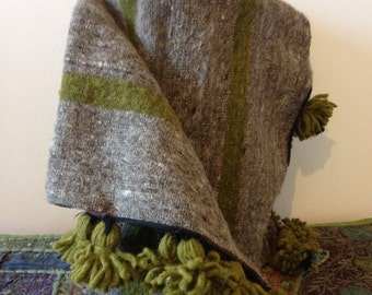 Moroccan Pom Pom Grey and Olive Green Blanket/Throw 100% Wool