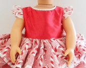 Red and White Candy Cane Holiday Christmas Dress for American Girl and 18 inch Dolls