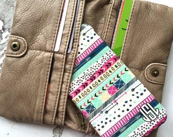Women's tech accessories, Monogram phone case, Aztec Tribal, Fits iPhone 4/4s 5/5s 6/6s 7 8 5c SE X and Plus, Aqua pink blue print  (1381)