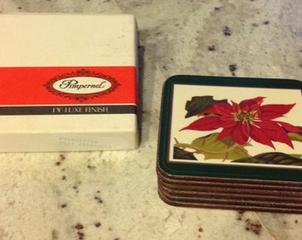 Vintage holiday coasters Pimpernel Poinsetta in the box Set of 6 Coasters Christmas