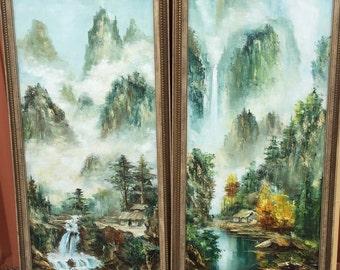 Vintage Large Paintings Mid Century Modern Beautiful Art Paintings set of two